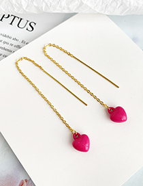 Fashion Rose Red Alloy Resin Love Ear Line