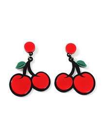 Fashion Cherry Red Acrylic Fruit Earrings