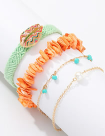 Fashion Blue Woven Color Gravel Shell Bracelet Combination