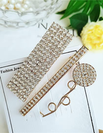 Fashion Yellow Alloy Diamond Hairpin Combination