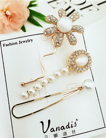 Fashion Yellow Sun Flower Pearl Diamond Hairpin Combination