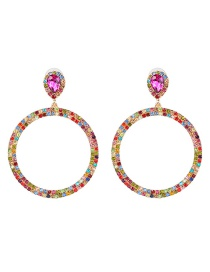 Fashion Color Geometric Round Colored Diamond Earrings