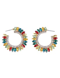Fashion Color C-shaped Sun Flower Earrings