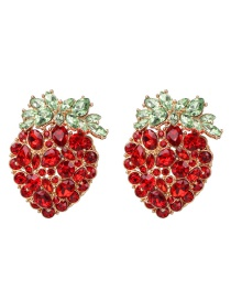 Fashion Red Strawberry And Diamond Earrings