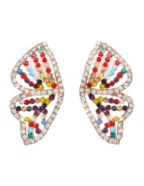 Fashion Color Butterfly Wings And Diamond Earrings