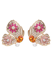 Fashion Gold Butterfly Zircon And Diamond Earrings