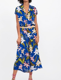 Fashion Royal Blue Flower Print Jumpsuit