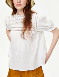Fashion White Openwork Embroidered Blouse