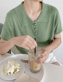 Fashion Green Knit Pol0 Shirt