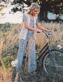 Fashion Blue White Orchid Print Jumpsuit