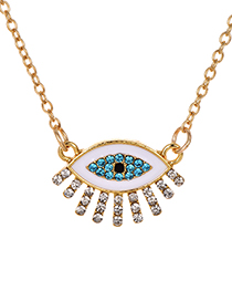 Fashion White Alloy Diamond Eye Necklace