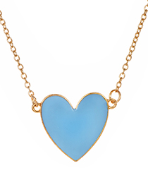 Fashion Blue Alloy Love Necklace