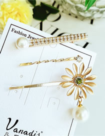 Fashion Yellow Alloy Diamond Flower Hair Clip Set