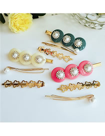 Fashion Large Combination Color Pearl Hair Clip Three-piece