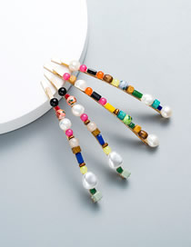 Fashion Gold Color Wood Geometric Natural Stone Clip Pearl Hairpin Set
