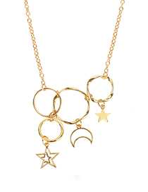 Fashion Gold Hollow Multi-ring Circle Star Moon Necklace