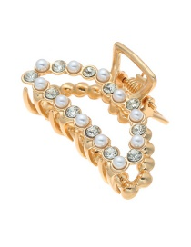Fashion Curved Pearl + Rhinestone Geometric Alloy Diamond Pearl Grip Trumpet