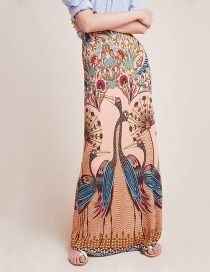 Fashion Color Peacock Open Screen Print Bag Hip Skirt