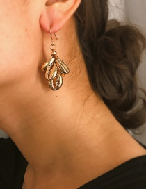 Fashion Gold Threading Multi-layer Alloy Shell Earrings