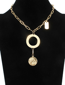 Fashion Gold Metal Embossed Coin Necklace