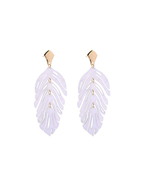 Fashion White Acrylic Plate Leaves S925 Silver Needle Stud Earrings