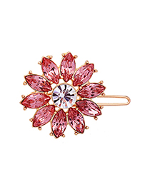 Fashion Pink Crystal Diamond Flower Hair Clip