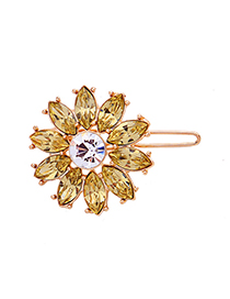Fashion Light Yellow Crystal Diamond Flower Hair Clip