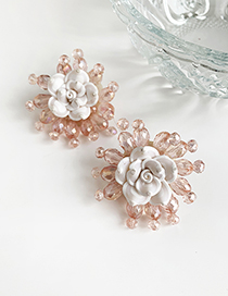 Fashion Pink Resin Transparent Beads Flower Earrings