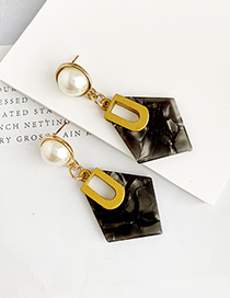 Fashion Black Alloy Resin Diamond Earrings
