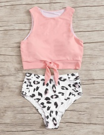 Fashion Pink Leopard Point Printed High Waist Split Swimsuit