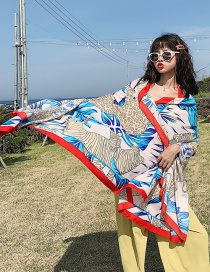 Fashion Red Edge Stone Pattern Cotton And Linen Shawl