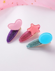 Fashion Pink Blue Colorful Love Stars Round Hair Clips Three-piece