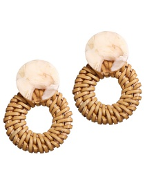 Fashion White Color Acrylic Wooden Woven Earrings