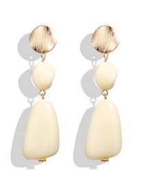 Fashion White Resin Sequins Irregular Earrings