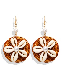 Fashion Camel Natural Shell Flower Pearl Rattan Woven Earrings