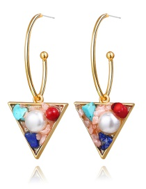 Fashion Pink Inlaid Pearl Stone Triangle Stud Earrings
