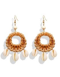 Fashion Camel Wood Rattan Woven Shell Earrings