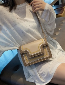 Fashion Khaki Embroidered Stitching Contrast Color Shoulder Bag