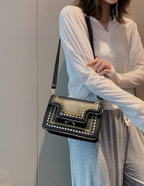 Fashion Black Embroidered Stitching Contrast Color Shoulder Bag