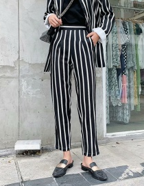 Fashion Black And White Striped Straight Pants