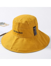 Fashion Yellow Cotton Cloth Embroidery Letter Double-sided Basin Cap