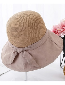 Fashion Khaki Woven Stitching Bow Visor