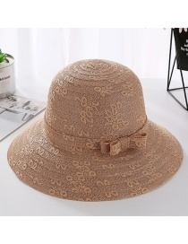 Fashion Light Brown Lace Bow With Large Straw Hat