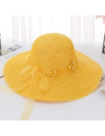Fashion Yellow Tether Flower Pearl Big Double Layer Lace Sun Hat