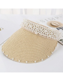 Fashion Beige Sewn Pearl Empty Straw Hat