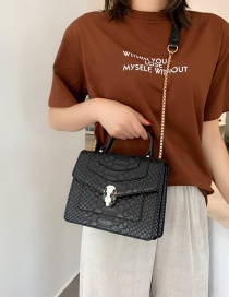 Fashion Black Snakeskin Pattern Bag