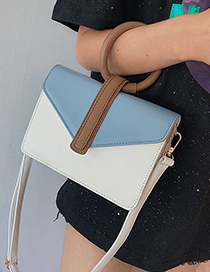 Fashion White Contrast Color Stitching Ring Shoulder Bag Shoulder Bag