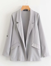 Fashion Light Grey Striped Suit