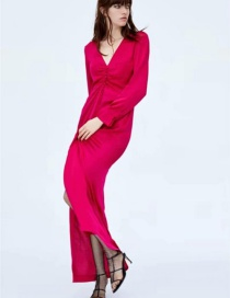 Fashion Rose Red Pleated Button Front Slit Dress