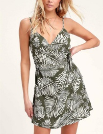 Fashion Army Green Printed Side Straps Dress